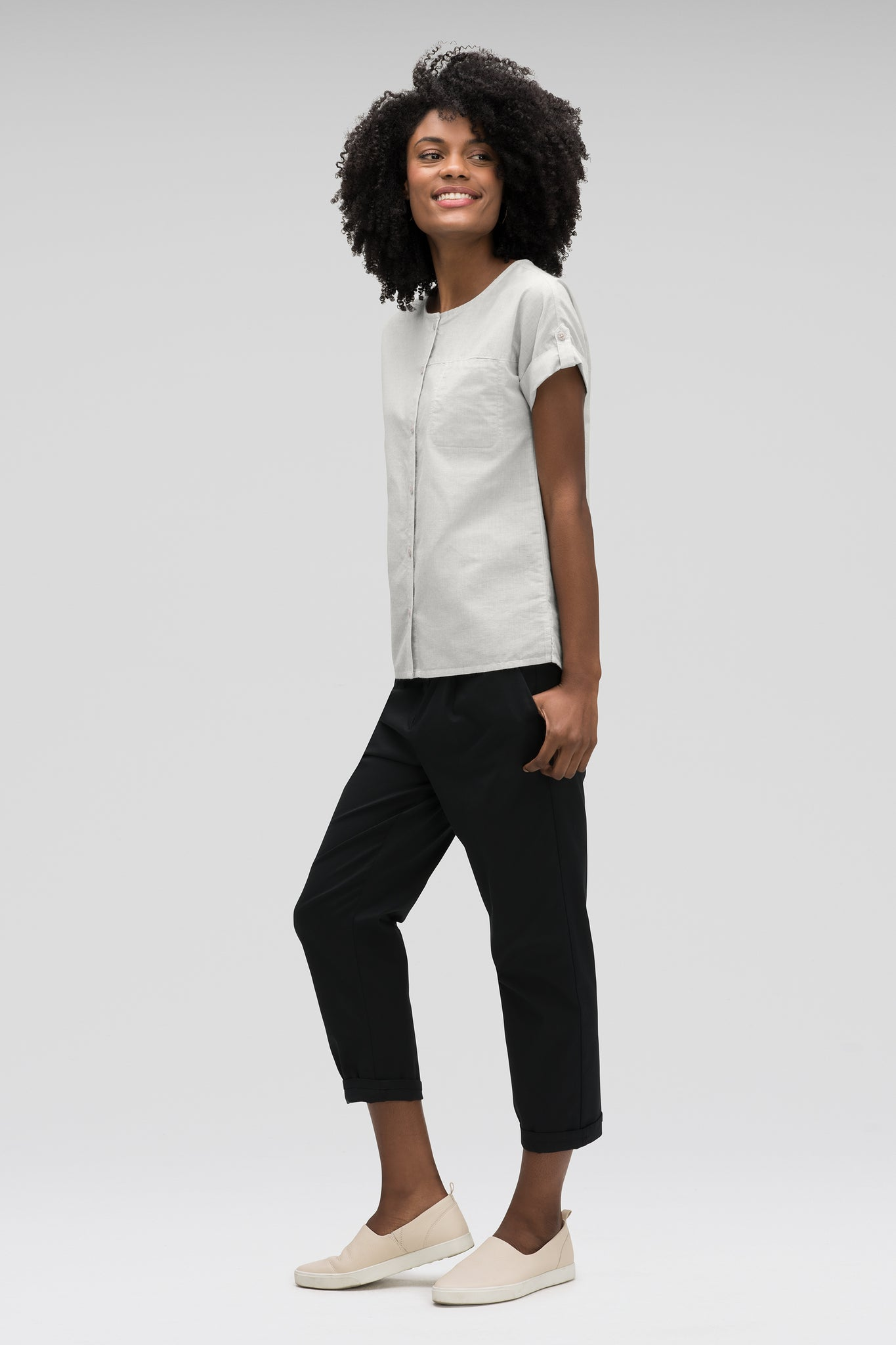 women's bloq boxy short sleeve shirt - zinc