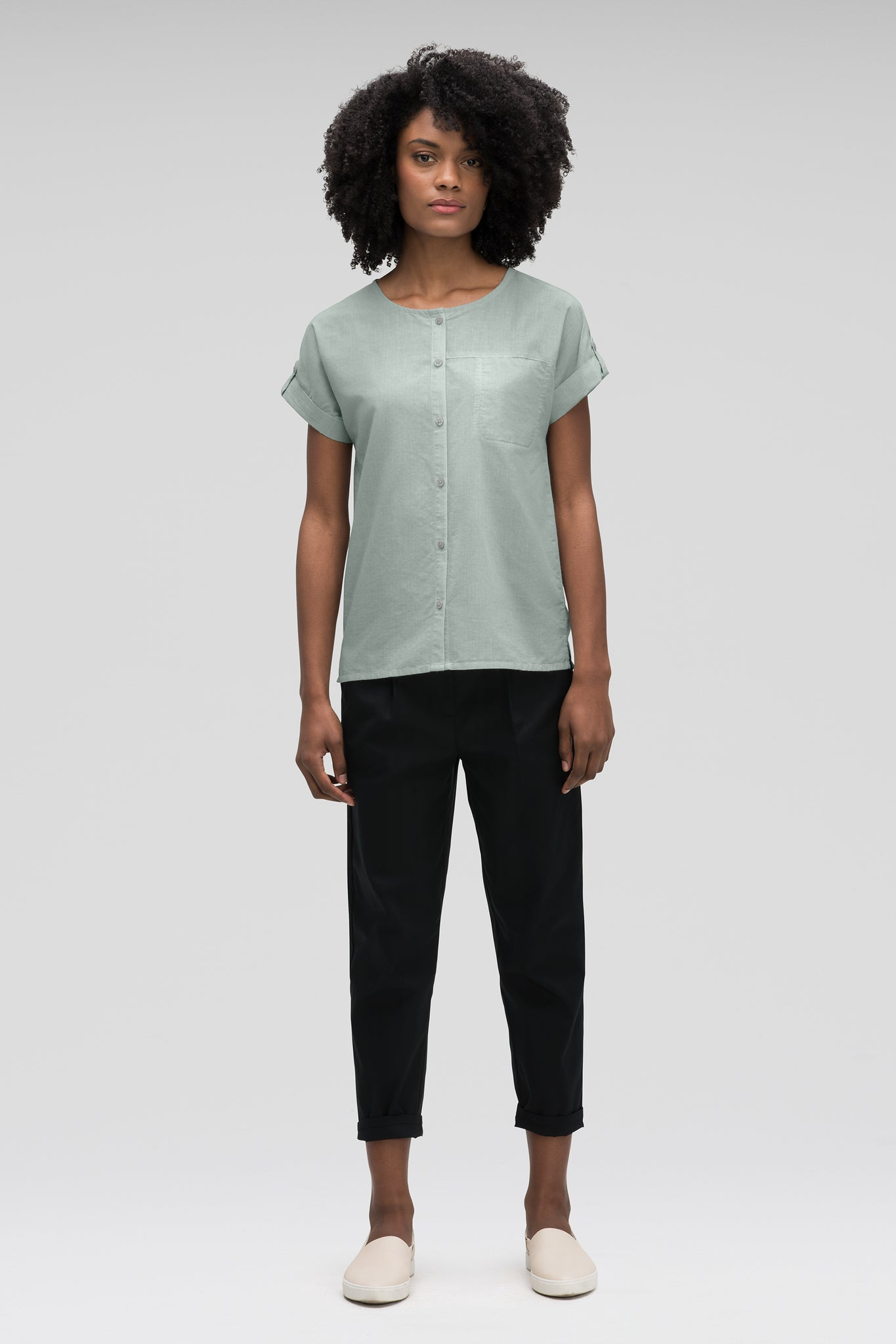 women's bloq boxy short sleeve shirt - mallard
