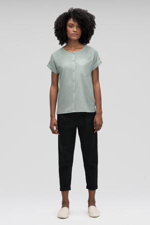 women's bloq boxy short sleeve shirt   mallard