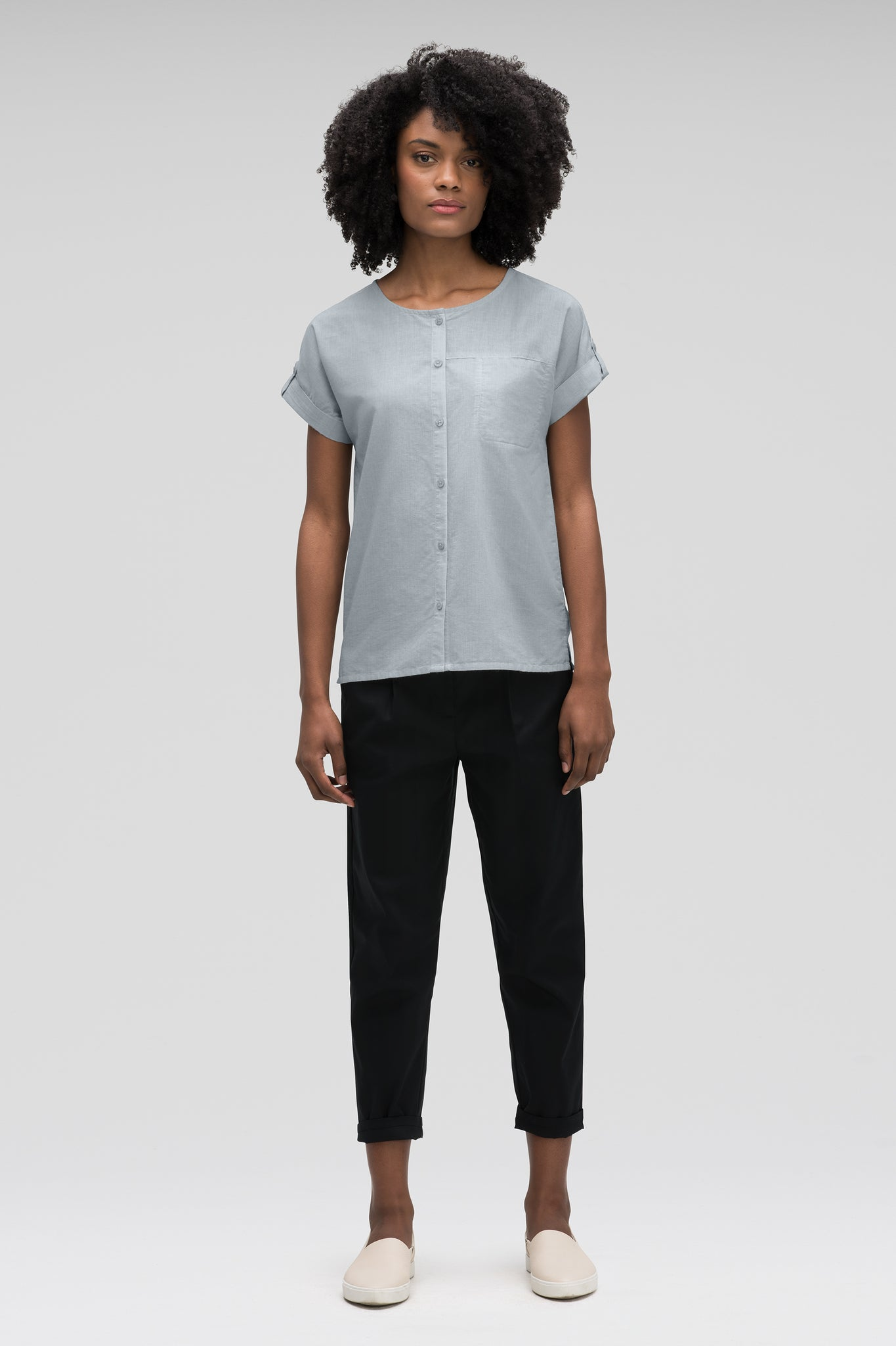 women's bloq boxy short sleeve shirt - lagoon