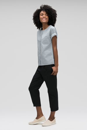 women's bloq boxy short sleeve shirt   lagoon