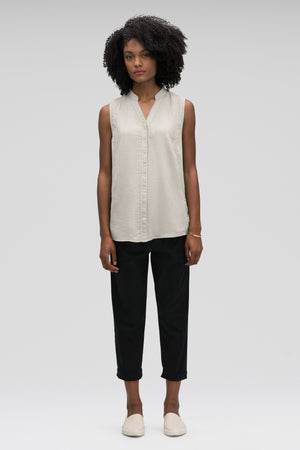 women's sleeveless woven shirt   zinc check