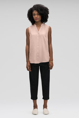 women's sleeveless woven shirt   rosen check