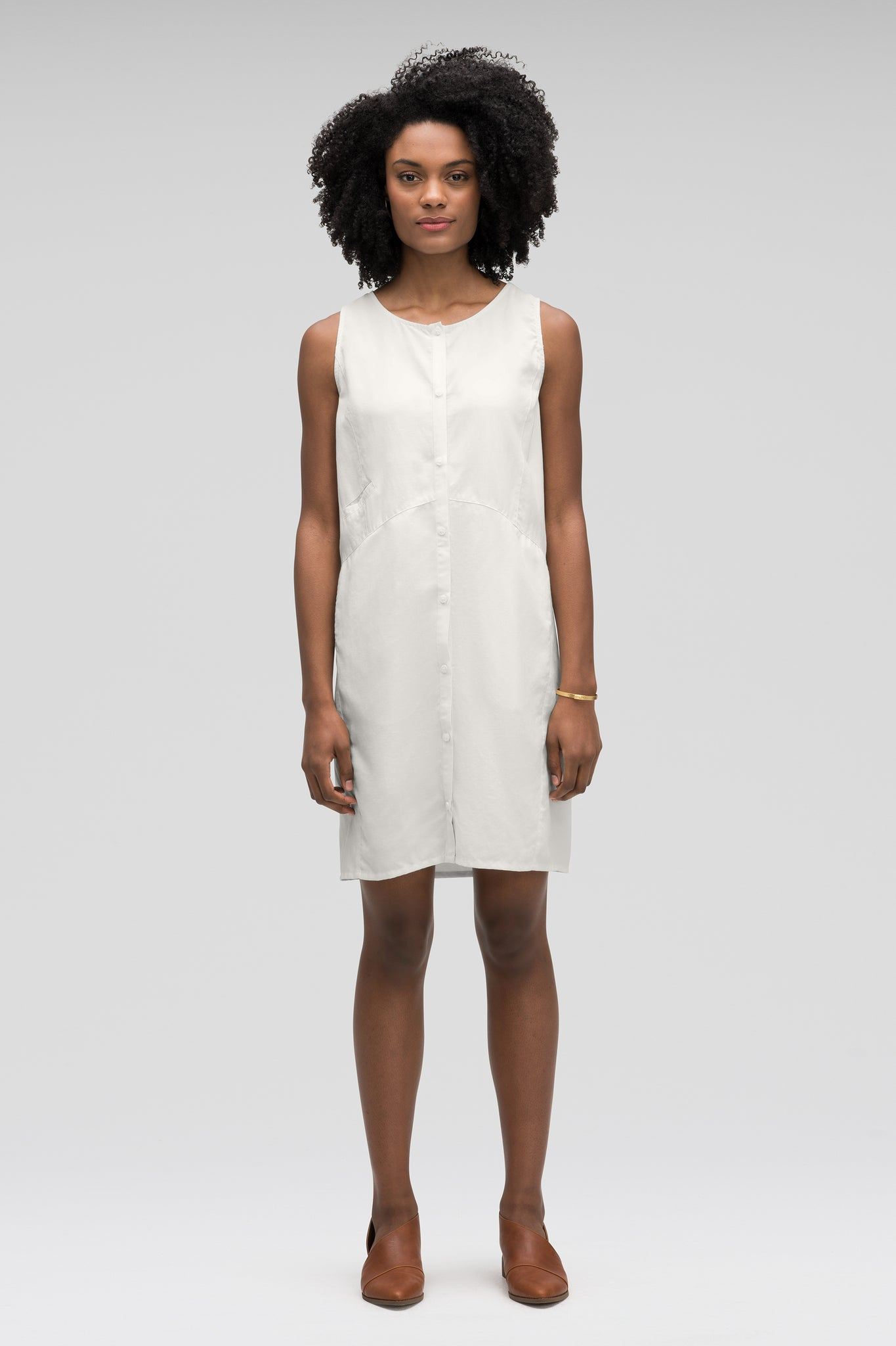 women's flaxible button front tank dress - vapor