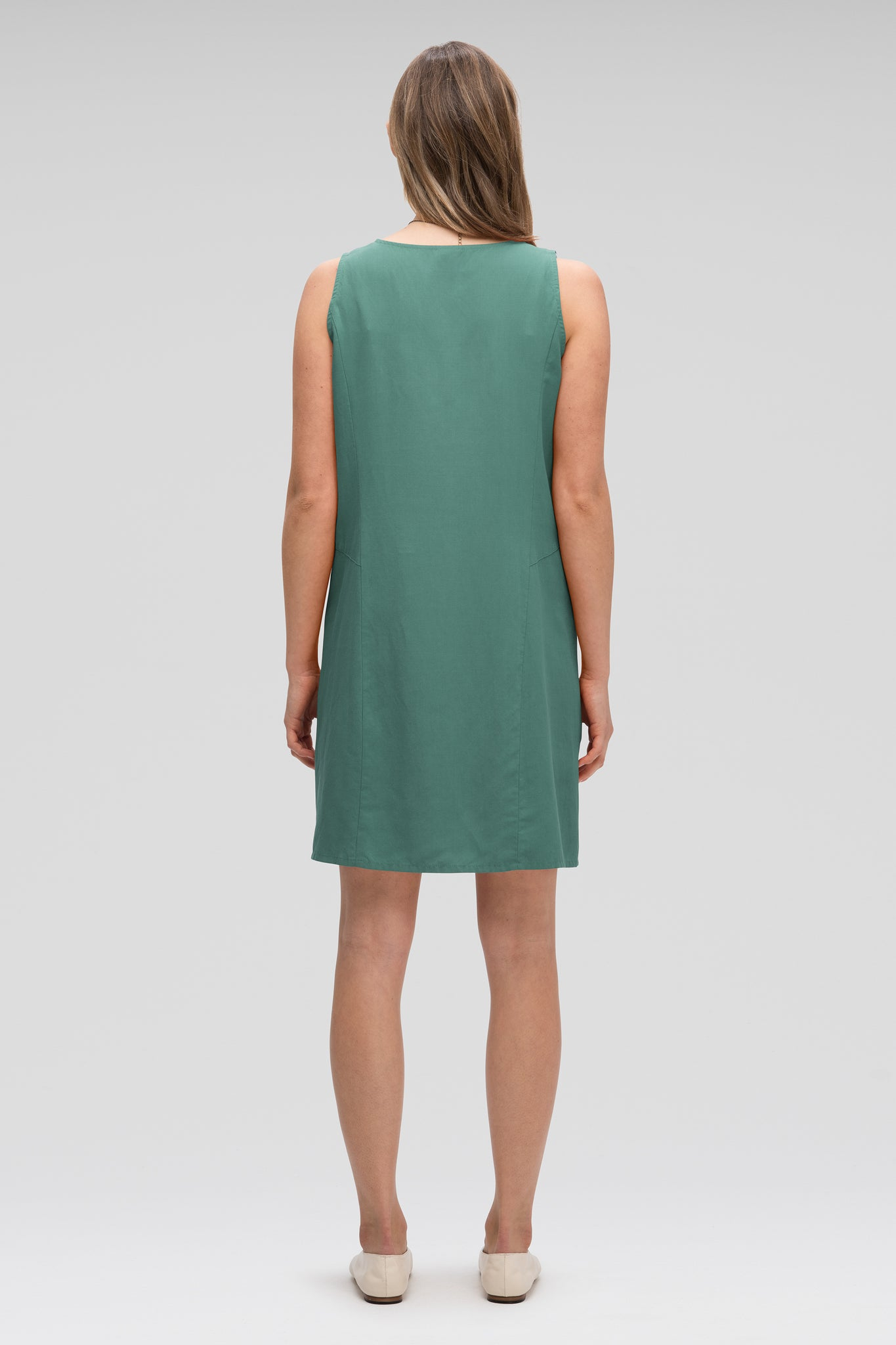 women's flaxible button front tank dress - mallard