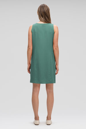 women's flaxible button front tank dress   mallard