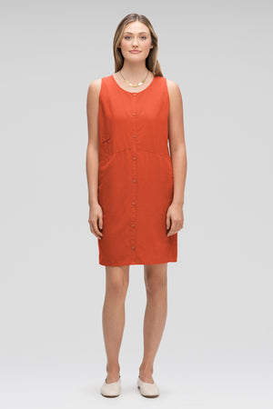 women's flaxible button front tank dress   terracotta