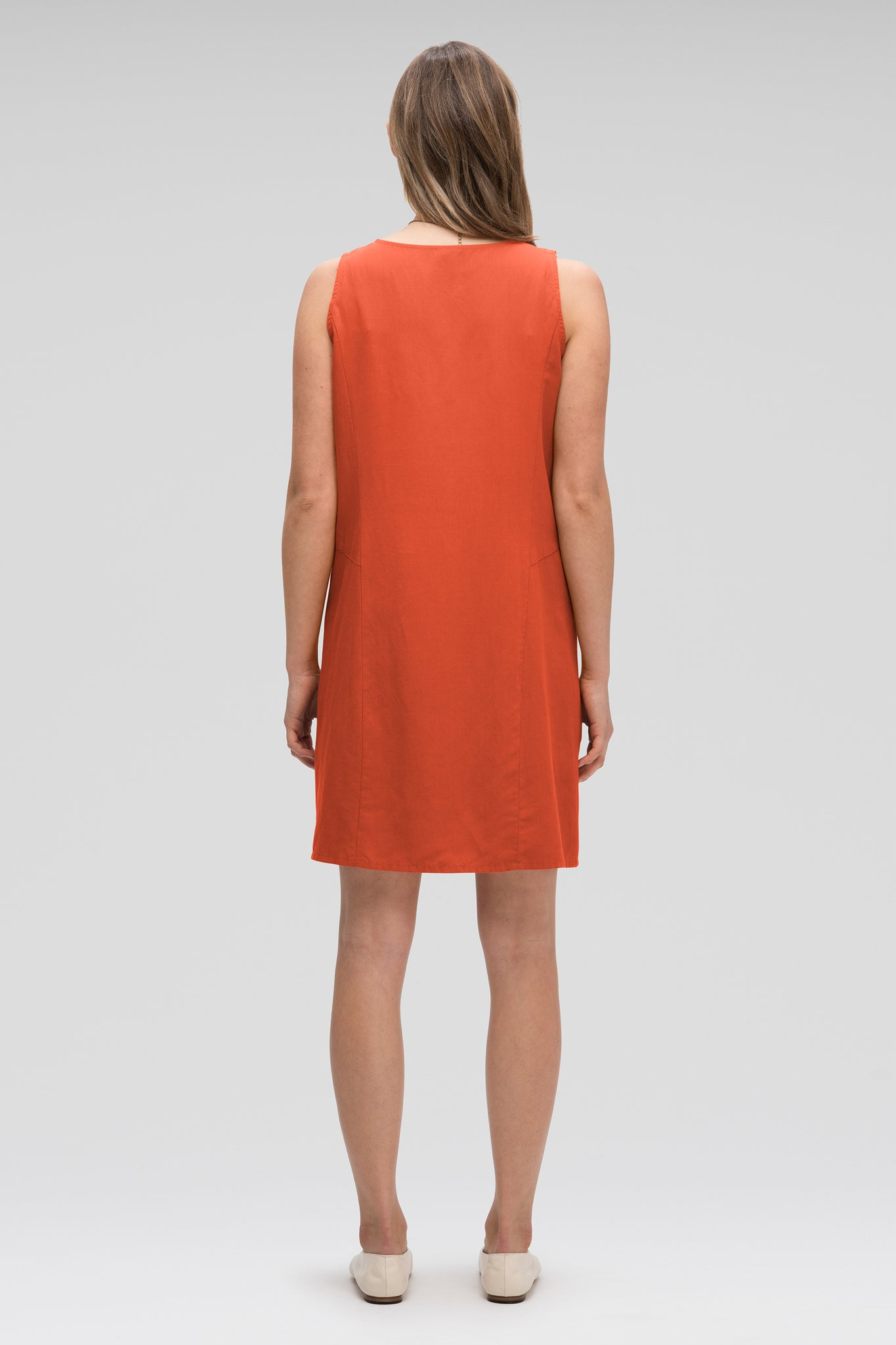 women's flaxible button front tank dress - terracotta