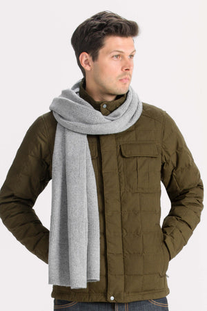 Unisex Courchevel oversized knit scarf   cape heather