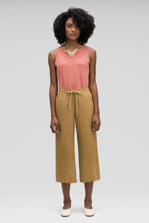 women's flaxible wide leg crop pant   nutmeg