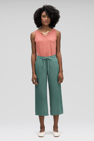 women's flaxible wide leg crop pant   mallard