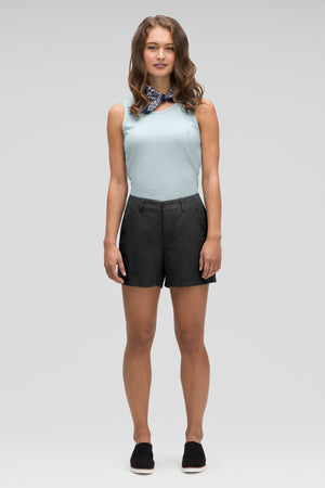women's flaxible linen blend short   caviar