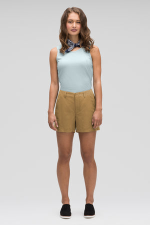women's flaxible linen blend short   nutmeg