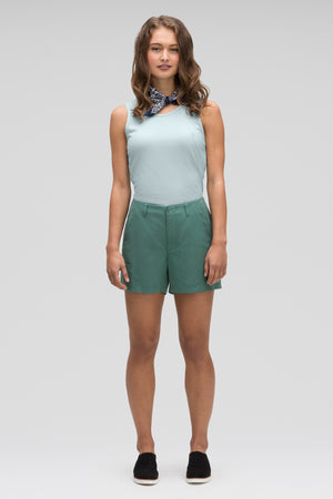women's flaxible linen blend short   mallard