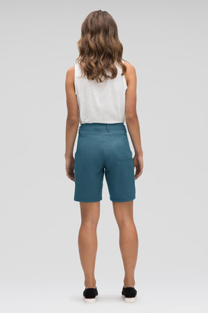 women's stretch motil quick dry short   lagoon heather