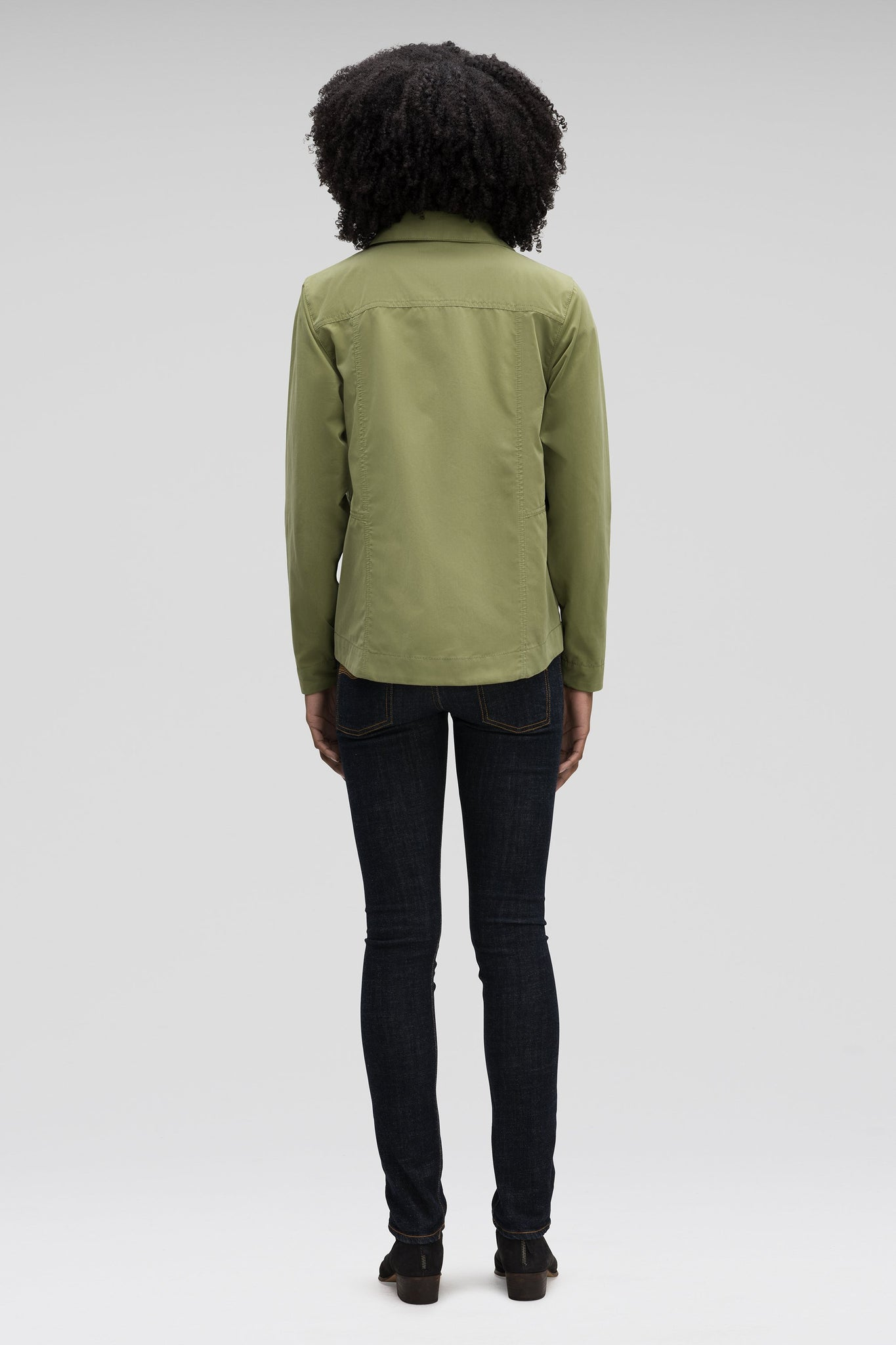 Women's Introvert Crop Tailored Jacket-Green