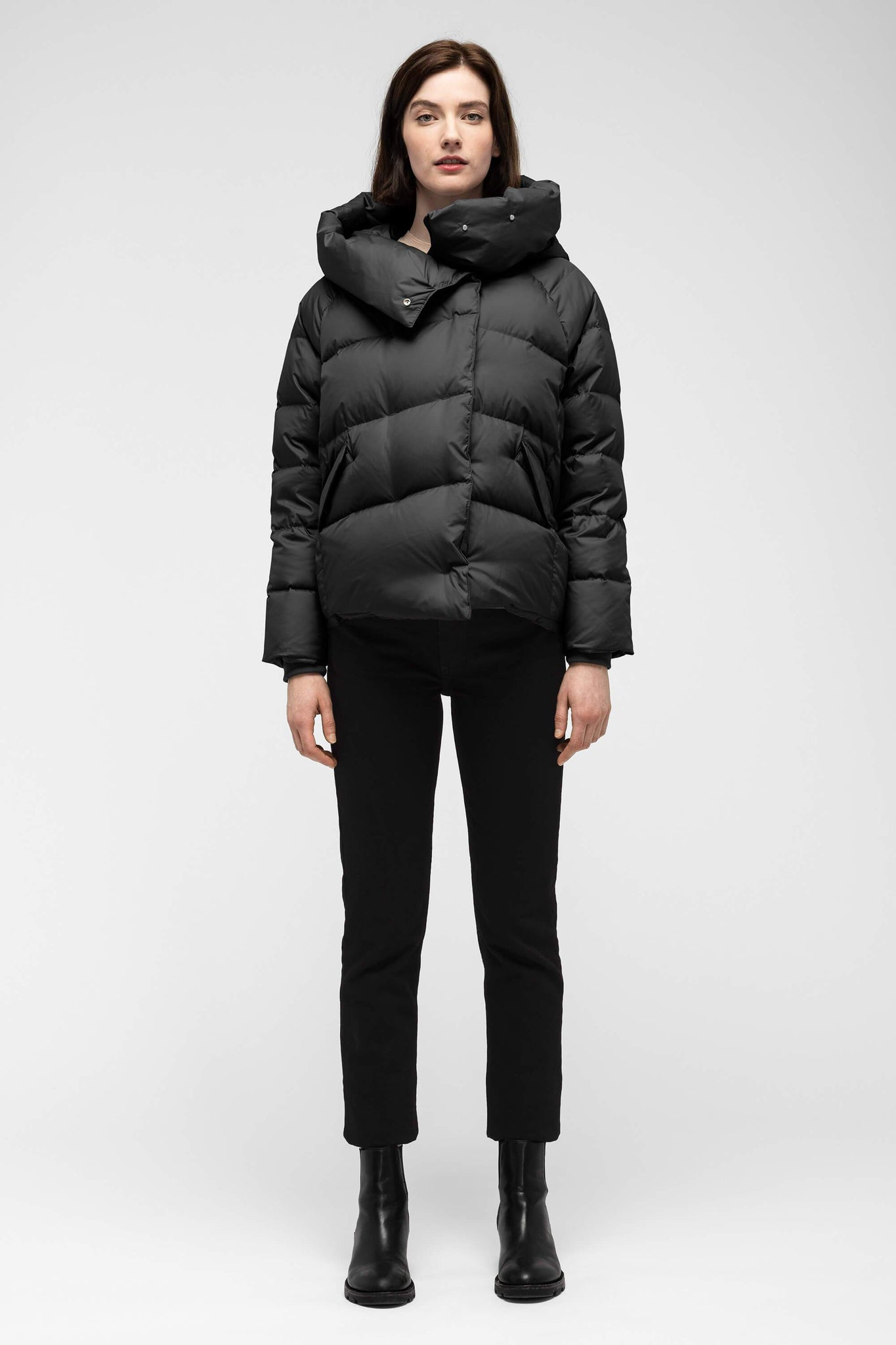 women's plume down jacket - caviar