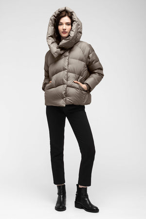 women's plume down jacket   sable