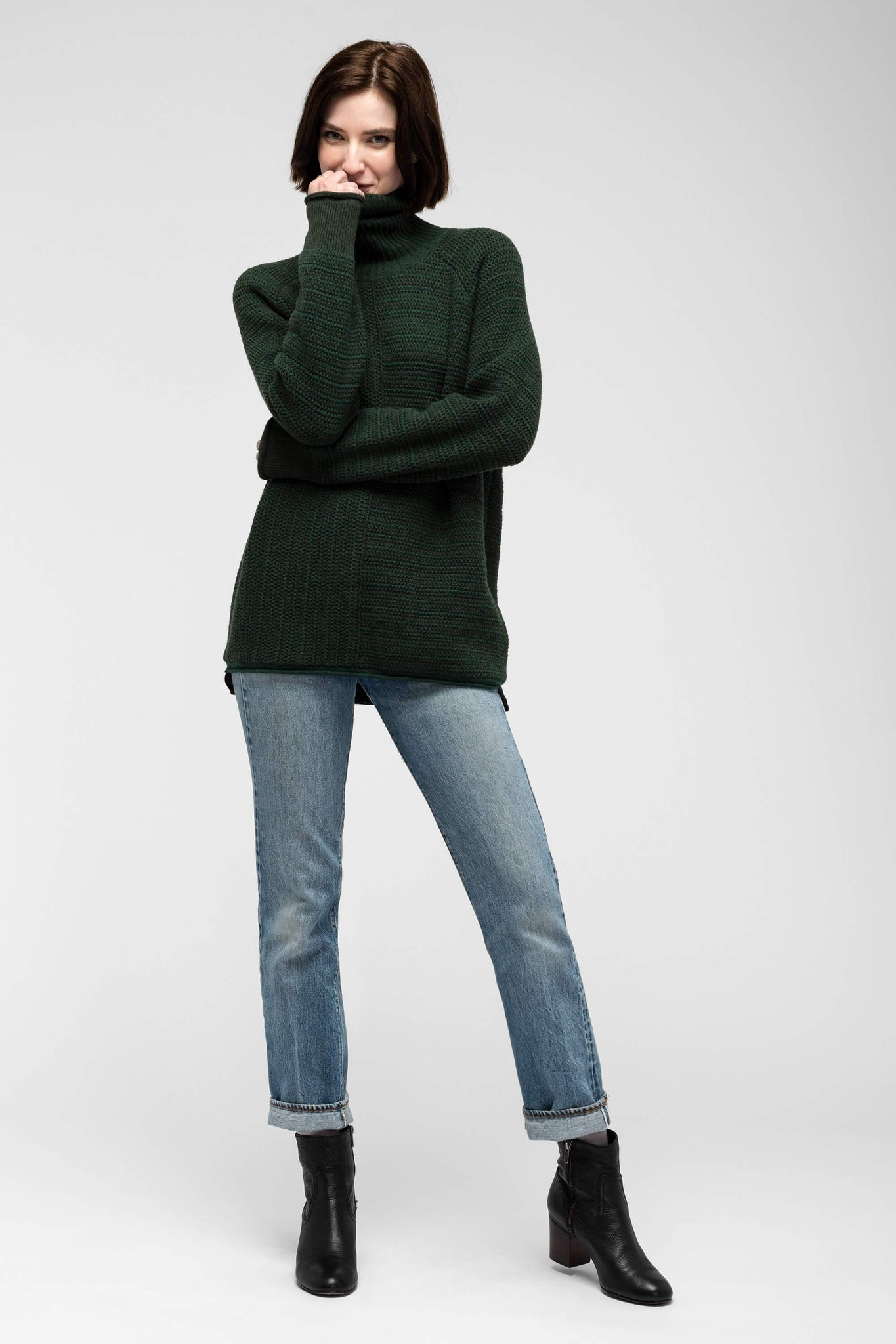 women's mantyl turtle neck sweater - spruce