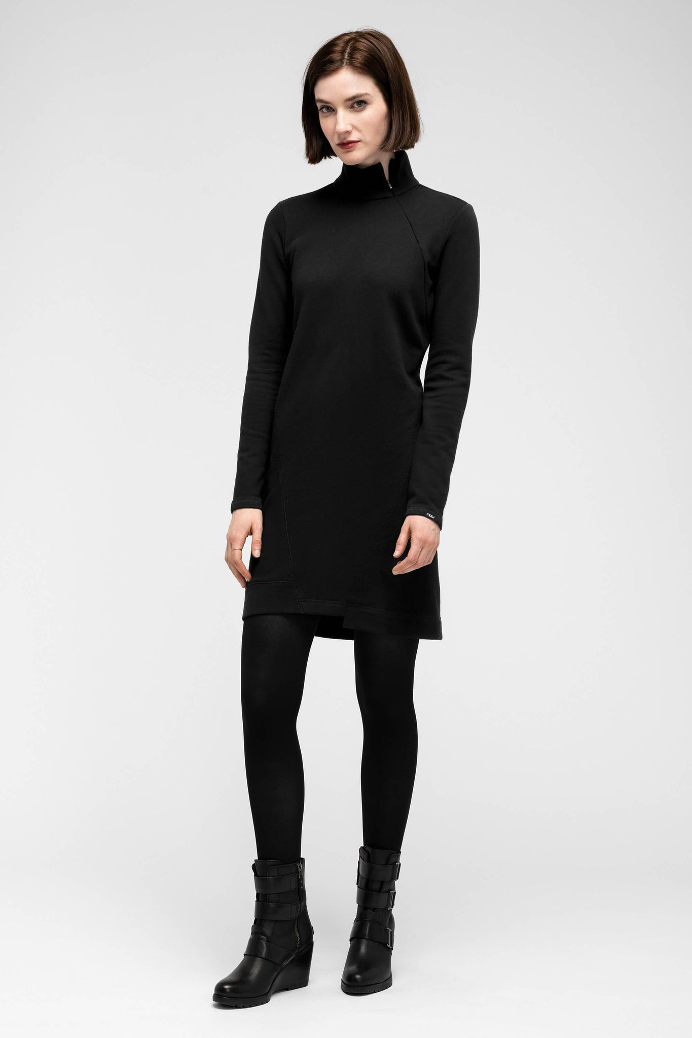women's cozette zip neck dress - caviar