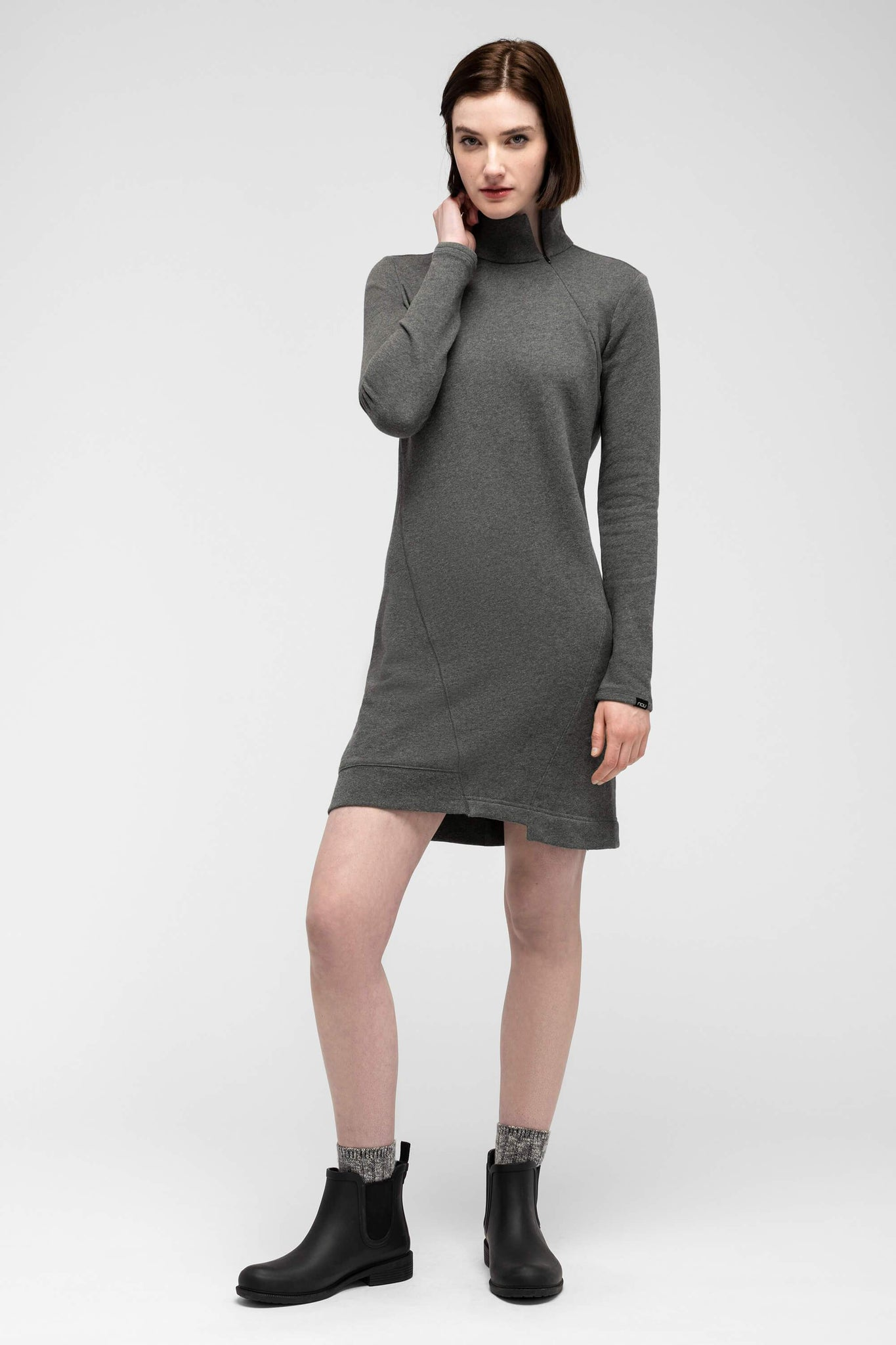 women's cozette zip neck dress - shadow