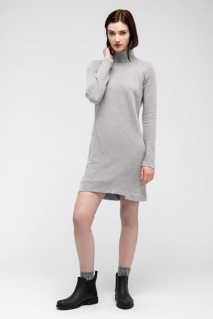 women's cozette zip neck dress   light grey