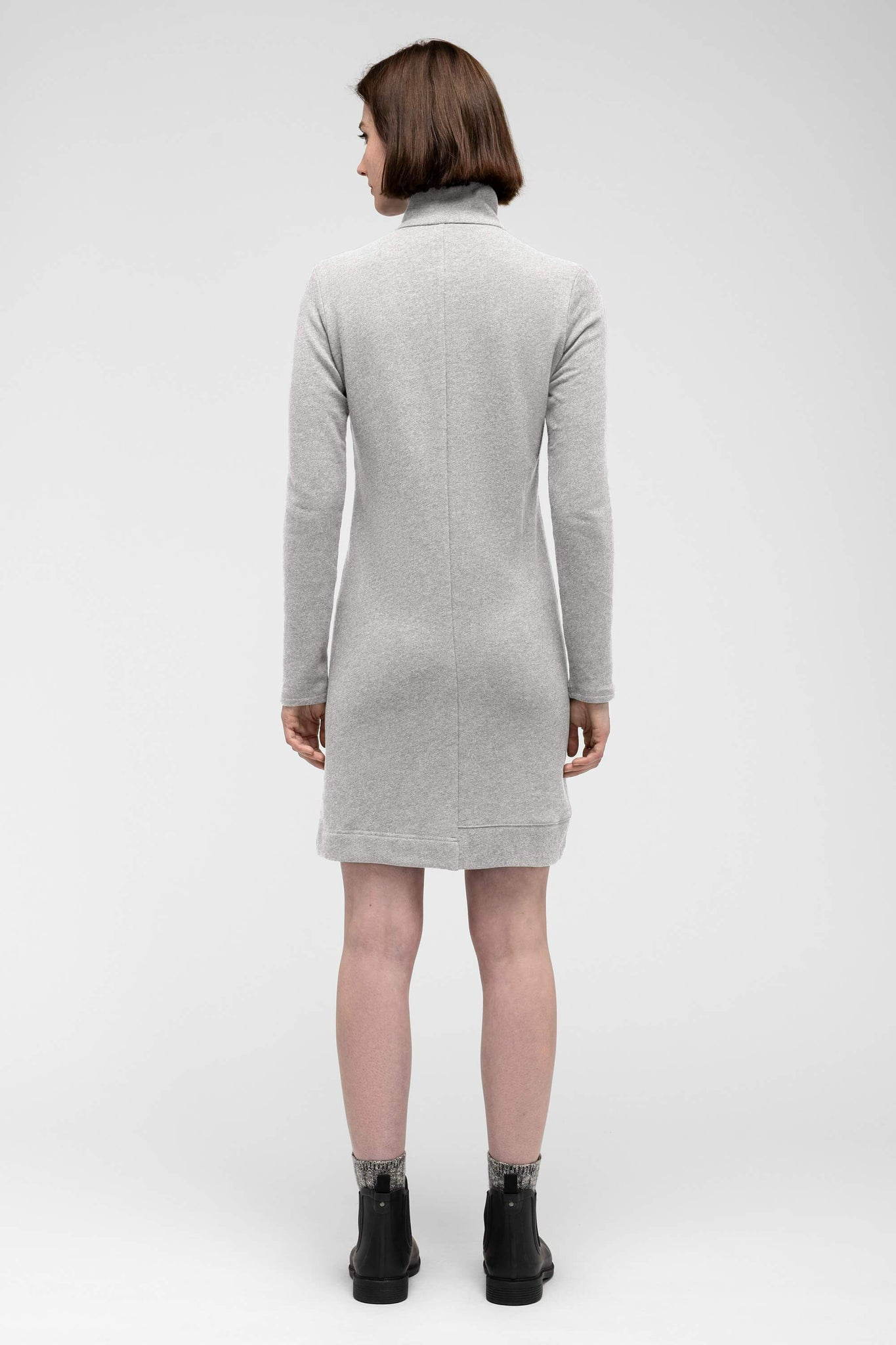 women's cozette zip neck dress - light grey