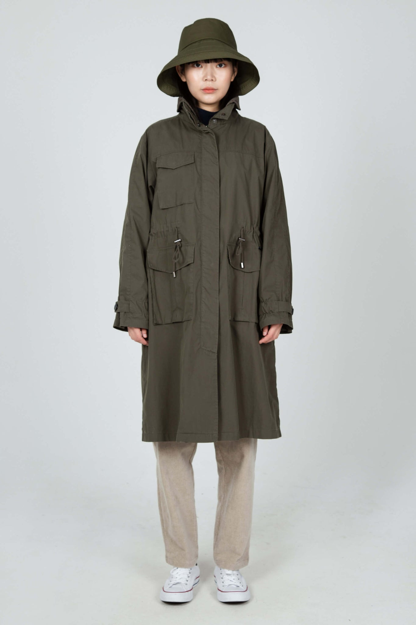 women's axis long trench coat - olive