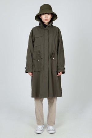 women's axis long trench coat   olive