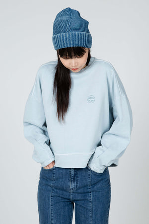 women's organic cotton terry knit crew neck sweatshirt   sky blue