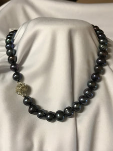 Black Pearl Necklace | Ball Clasp