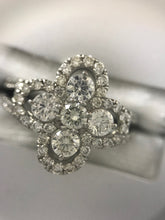 Load image into Gallery viewer, Diamond and Platinum Clover Ring