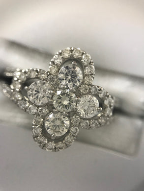 Diamond and Platinum Clover Ring