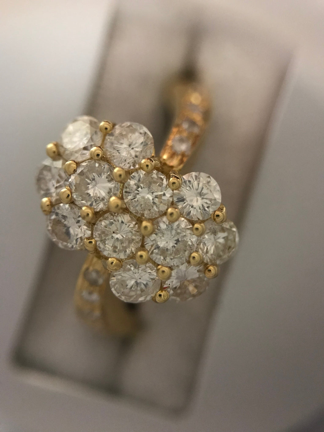 Diamond and Gold Twin Flower Ring | 18ct