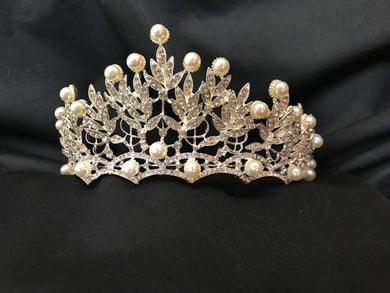 Sterling Silver Tiara | Pearl and Crystal