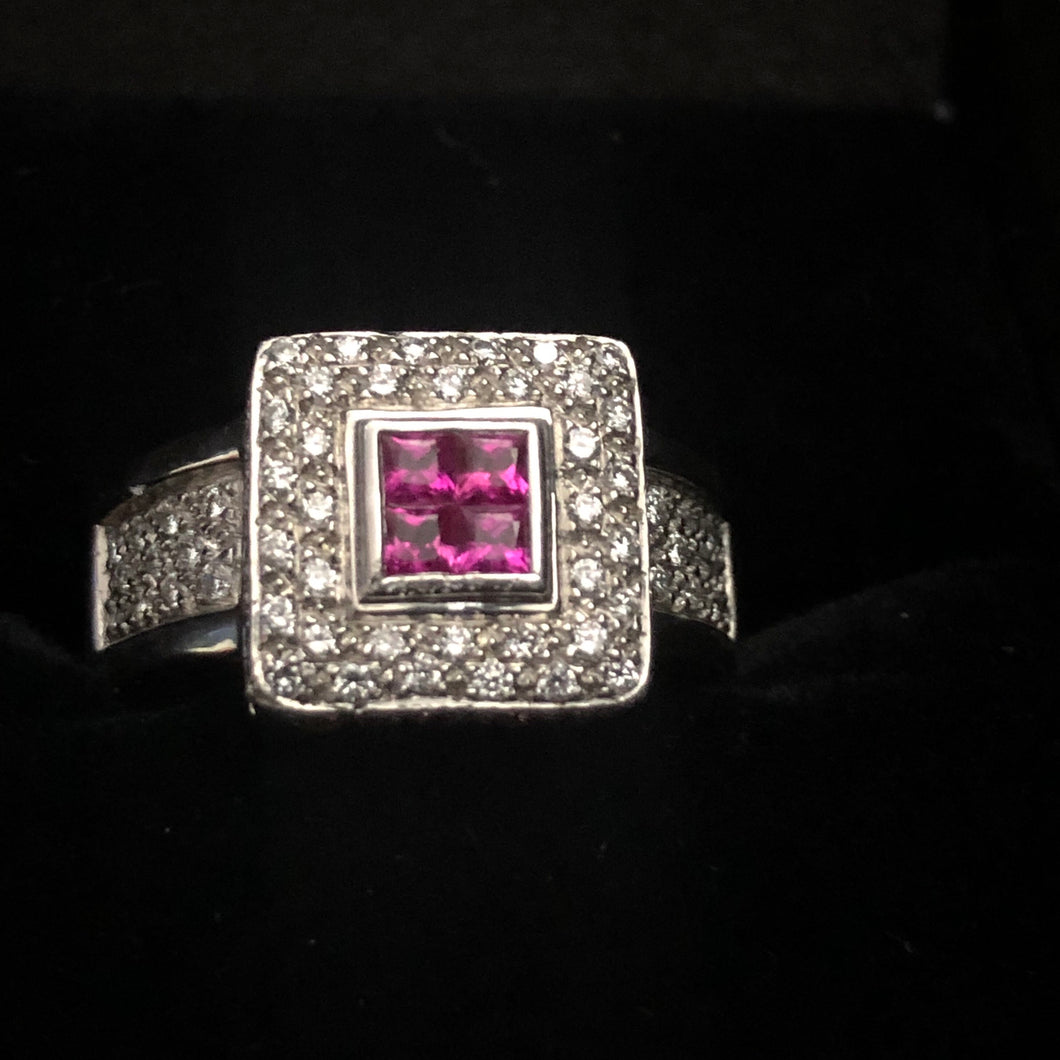 Contemporary 900 platinum ruby Ring Art Deco Style