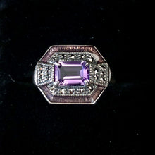 Load image into Gallery viewer, Contemporary Sterling Silver Art Deco style Amethyst Ring