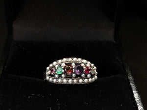 Contemporary Sterling Silver emerald garnet ring