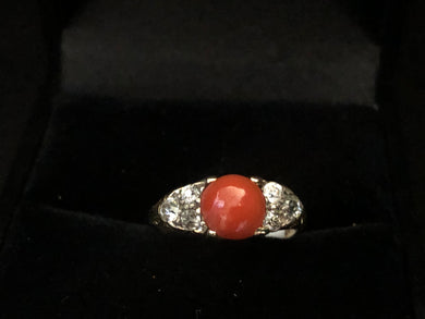Citrca 1880 18ct yellow gold Cabochon coral and diamond ring