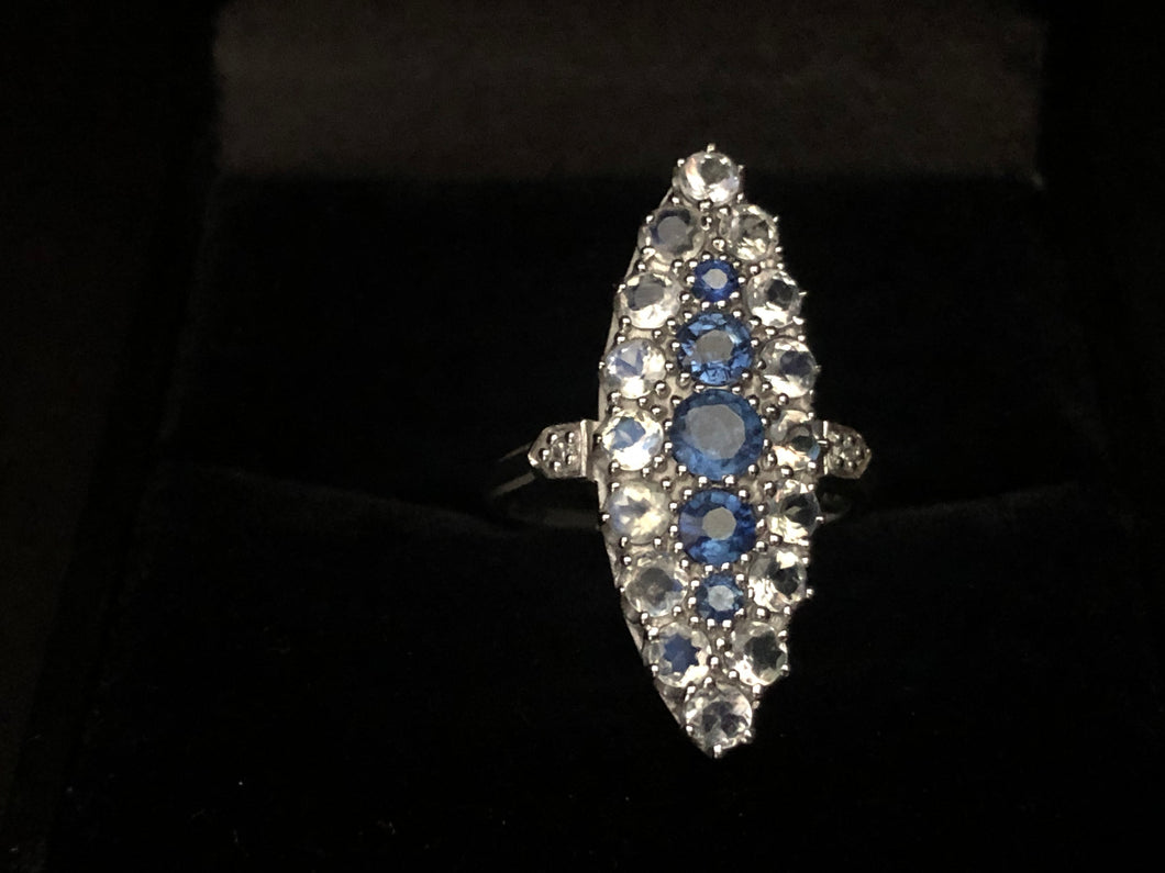 Contemporary white gold sapphire Ring