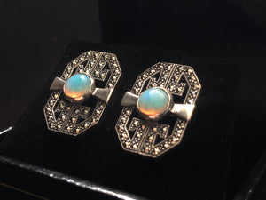 Contemporary Sterling Silver opal earrings