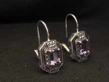 Load image into Gallery viewer, Contemporary Sterling Silver Amethyst Earrings
