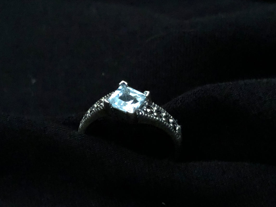 Contemporary Sterling Silver and Blue Topaz Square Ring