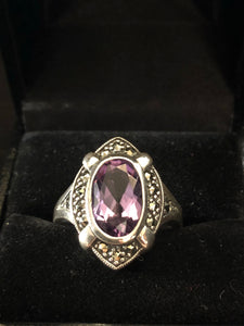 Contemporary Sterling Silver Opal Amethyst Ring
