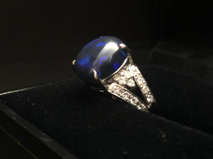 Contemporary Platinum 5.09ct Black Opal Ring