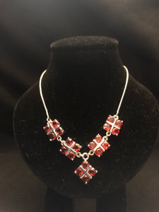 Contemporary Sterling Silver Garnet necklace