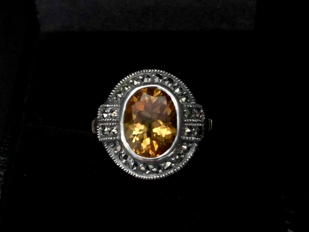 Contemporary Sterling Silver large Opal Citrine
