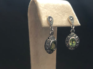 Contemporary Sterling Silver opal peridot pendant earrings