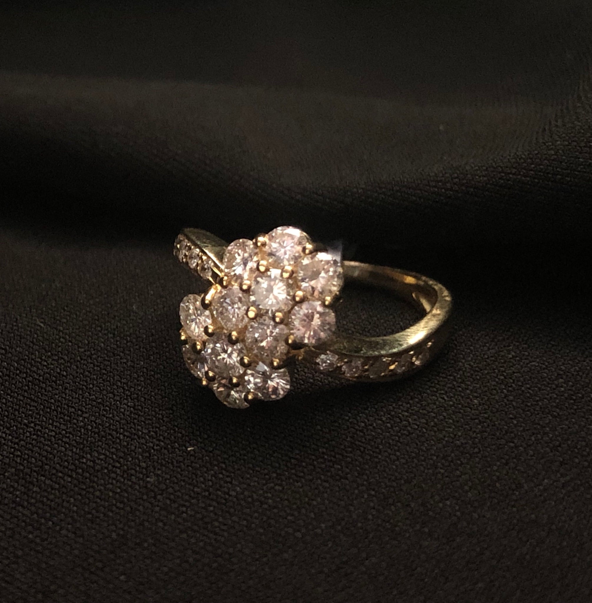 af093156c1f1e Contemporary yellow gold 18ct claw set diamond cluster ring – Olde ...