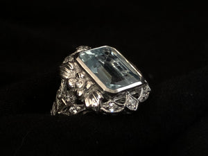 Contemporary Sterling Silver and Blue Topaz Emerald Cut Ring